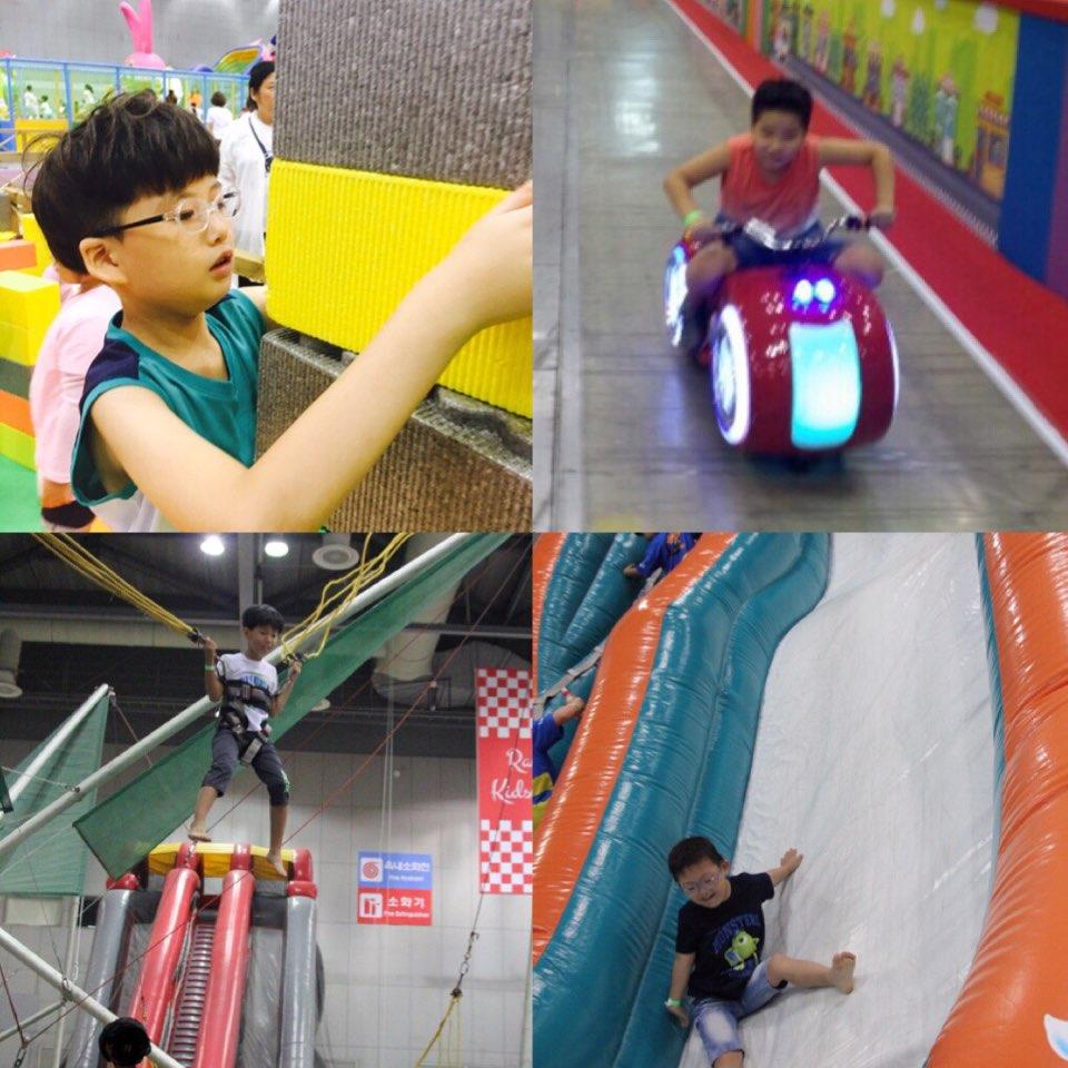 에어바운스 미끄럼틀을 타고 블록쌓기도 하고, 오토바이 체험과 점핑체험 등 스스로 원하는 체험을 찾고 활동적으로 체험했습니다.