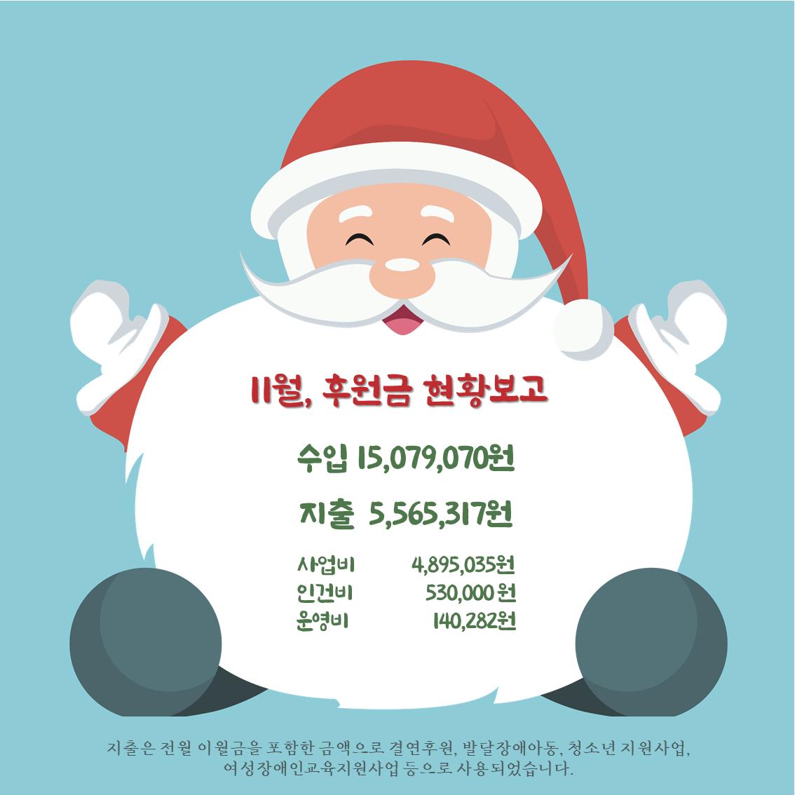 11월 후원금 현황보고 수입 15,079,070원 지출 5,565,317원